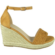 Armani Camel Espadrilles High Wedge Shoes