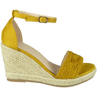 Armani Mustard Espadrilles High Wedge Shoes