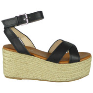 Farah Black Summer Buckle Flatform Sandals