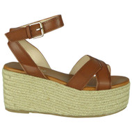 Farah Camel Summer Buckle Flatform Sandals