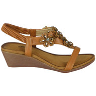 Diem Camel Wedges Open Toe Bling Heel Sandals
