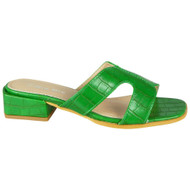 Grecia Green Mules Slip On Comfy Sandal