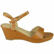 Hensely Camel Wedge Buckle Comfy Sandals