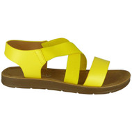 Ivana Yellow Elastic Strappy Flat Sandals