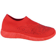 Joslyn Red Sock Bling Slip On Trainers