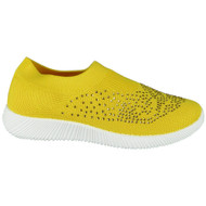 Joslyn Yellow Sock Bling Slip On Trainers