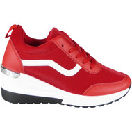 Keegan Red Wedge Lace Up Comfy Trainers