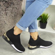 LAKEN Black Sock Slip On Trainers
