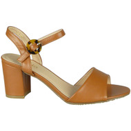 Marisole Camel Strappy Buckle High Heels Sandals