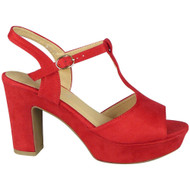 Oriana Red Open Toe Platform Comfy Sandals