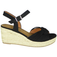 Priya Black Wedge Ankle Strap Espadrilles Sandals