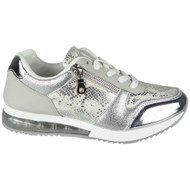 Bonita Silver Inspired Classic Lace Up Trainers