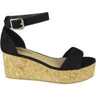 Sena Black Wedges High Heel platform Sandals