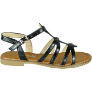 Ulani Black Flat Buckle Comfy Sandals
