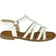 Ulani White Flat Buckle Comfy Sandals