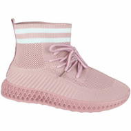 Addison Pink Slip On Lace Sock Trainers