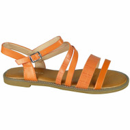 Madisyn Orange Flat Strappy Croc Comfy Shoes