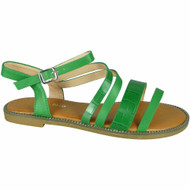 Madisyn Green Flat Strappy Croc Comfy Shoes