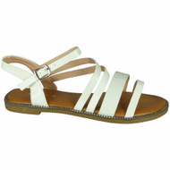 Madisyn White Flat Strappy Croc Comfy Shoes