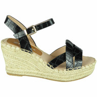 Addilynn Black Wedges Croc Hessian Shoes