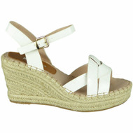 Addilynn White Wedges Croc Hessian Shoes