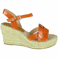 Addilynn Orange Wedges Croc Hessian Shoes