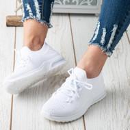 Lucille White Running  Slip On Platform Shoes