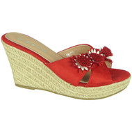 Magnolia Red Wedges Slip On Hessian Shoes