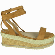 Karla Camel Espadrilles Tie Up Wedges Shoes
