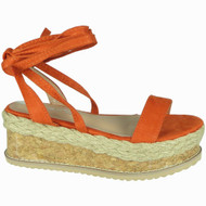 Karla Orange Espadrilles Tie Up Wedges Shoes