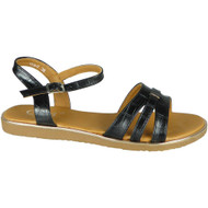 Galilea Black Flat Strappy Croc Comfy Shoes