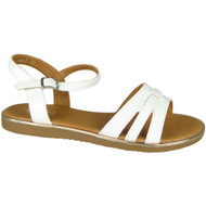 Galilea White Flat Strappy Croc Comfy Shoes