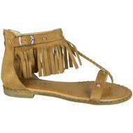 Noa Camel Flat Tassle  Strap Comfy Shoes