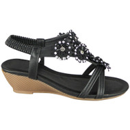 Azariah Black Elastic Strap Bling Shoes