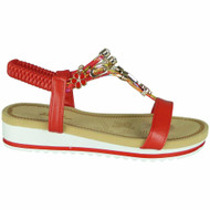 Shiloh Red Summer Elastic Strap Bling Shoes