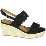 Jolie Black Hessian Strap Open Toe Shoes