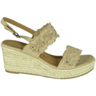 Jolie Beige Hessian Strap Open Toe Shoes