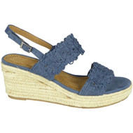 Jolie Blue Hessian Strap Open Toe Shoes