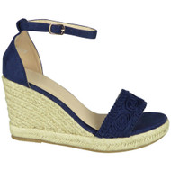 Armani Blue Espadrilles High Wedge Shoes