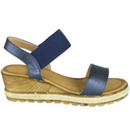 Kori Blue Elastic Strap Wedge Casual Shoes