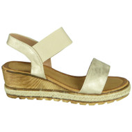 Kori Beige Elastic Strap Wedge Casual Shoes