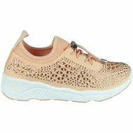 Anahi Peach Bling Lace Up Diamante Trainers