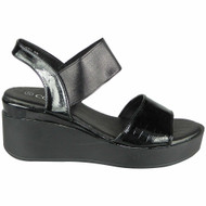 Zelda Black Elastic Platform Summer Sandals