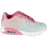 Annika Grey/Pink Lace Up Sports Trainers