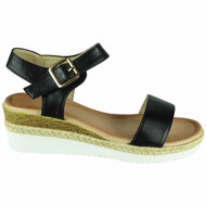 Giuliana Black Hessian Buckle Comfy Sandals