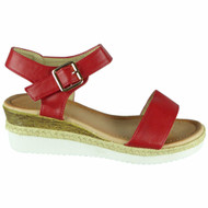 Giuliana Red Hessian Buckle Comfy Sandals