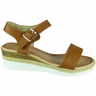 Giuliana Camel Hessian Buckle Comfy Sandals