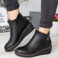 Imani Black Ankle Wedge Zip Comfy Shoes