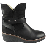 Kaydence Black Ankle Wedge Zip Work Shoes