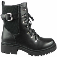 Noemi Black PU Ankle Lace Up Army Combat Shoes